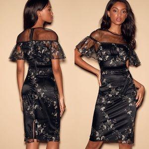 Gild-ness Gracious Black Floral Embroidered Midi